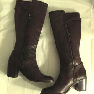 Frye Janis Shield Tall Boot Brown Leather 8.5 B